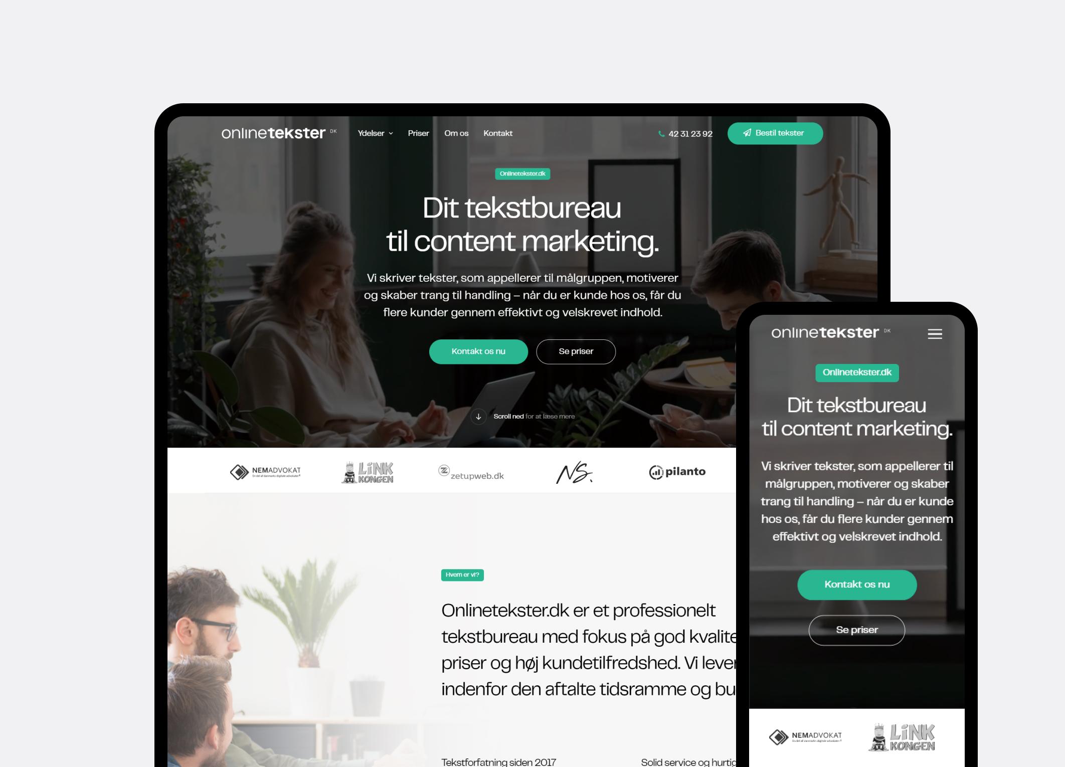 Onlinetekster.dk valgte mig som freelance webdesigner.
